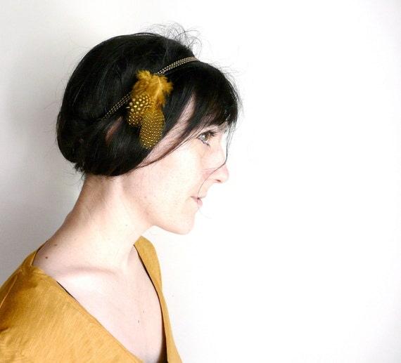 Yellow gold and blue dot feather head band ( burlesque headband, jam, vintage, woman, accessory, childhood) 06