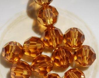 4 - 10mm Topaz Swarovski Crystal Series 5000 Round November Birthstone Birth Month Loose Beads Jewelry Supplies Genuine Crystallized