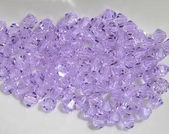 12 - 4mm Violet Bicone Swarovski Crystal Series 5301 Bicone Purple Light Purple Loose Beads Jewelry Supplies Genuine Crystallized