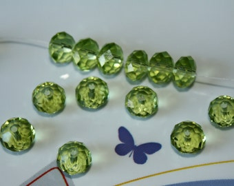 12 - 8x5mm Green Glass Crystal Bead Rondelle Fern Apple Faceted Loose Beads Jewelry Supplies