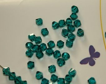 100 - 4mm Blue Zircon Swarovski Crystal Xilion 5328 Bicone Beads Crystallized December Birth Month Birthstone Loose Beads Jewelry Supply