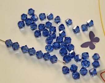 24 - 4mm Sapphire Blue Swarovski Crystal Xilion 5328 Bicone Beads Genuine Crystallized September Birth Month Birthstone Loose Jewelry Supply