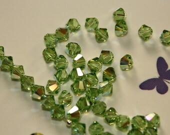 50 - 4mm Peridot AB Swarovski Crystal Xilion 5328 Bicone Beads Genuine Crystallized August Birth Month Birthstone Loose Beads Jewelry Supply