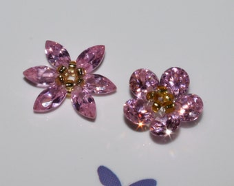 2 - Cubic Zirconia-Beaded Flowers-14mm-18mm-Pink-Rose Petals-Round-Marquis-Loose Beads-Jewelry Making-Rings-Beading Supplies-