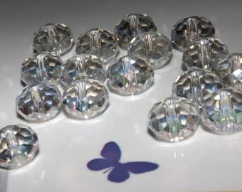 24 - 8x5mm Rondelle Beads-Clear Glass Crystal-Faceted Beads-April Birth Stone-Birth Month-Loose Beads-Jewelry Supplies-Tiara Crystal Beads