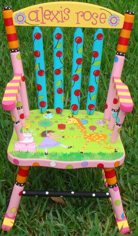 Rocker Custom Painted Rocking Chair for Children Hand Painted Rocker ...