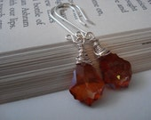 Spice - Handmade Swarovski Chili Pepper Baroque Crystals and Sterling Silver Earrings