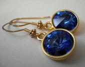 Sapphire Love - Handmade Swarovski Sapphire Rivoli Crystals and Gold Filled Earrings