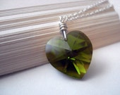 Olive You - Handmade Swarovski Crystal and Sterling Silver Necklace