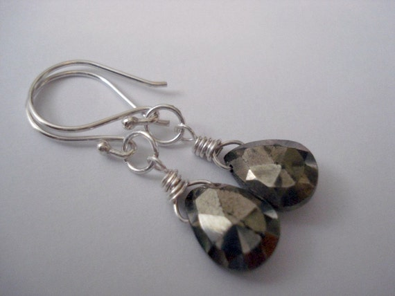 Handmade Big Pyrite and Sterling Silver Earrings