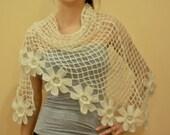Ivory Chic Mohair Handmade Wedding/Bridal Shawl /Romantic night shrug