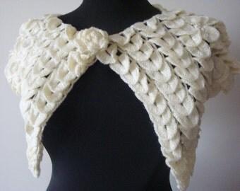 IVORY crocodile bolero   shrug / elegant vintage bridal accessory