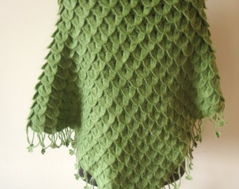 Christmas Gift Handknit Crocodile Green  Mohair Shawl/shrug/capelet/warmer/stole