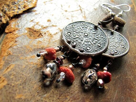 la gitana - nomadic embossed copper, murano glass, and coral chip earrings