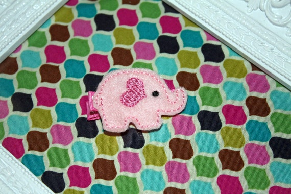 Boutique Pink Elephant Heart felt Hair Clip Valentine's Day