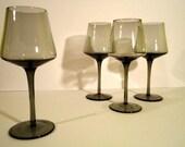 Set of 4 Vintage Smoke Glass Wineglasses