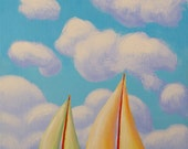 Whimsical Sailboat Scene 9x12 Original Painting by Ed McCarthy free shipping
