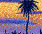 Wall Art - Original Art - Office Decor - Fine Art - Home Decor - Tropical Palm Tree Sunset 8x10 Acrylic Painting  Ed McCarthy  free shipping