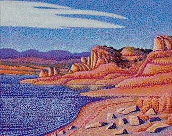 Bluffs Cliffs Rocks Type Original 20x24 Painting by Ed McCarthy