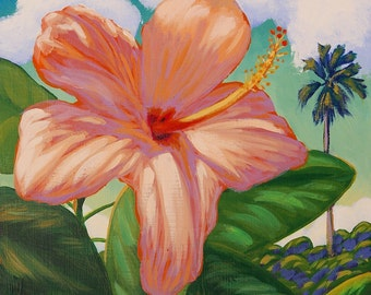 Tropical Flower Whimsical Art 11x14 Original Painting by Ed McCarthy free shipping