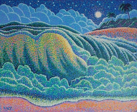 Pointillist Wave Scene 20x24 Original Painting by Ed McCarthy free shipping