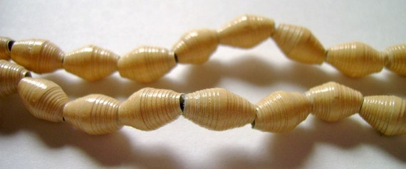 Sandy Yellow Hand Rolled Paper Beads