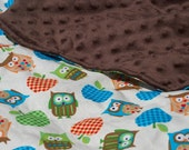 Car Seat Blanket Owls and Apples