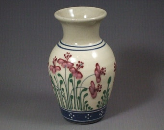 Small Stoneware Vase   Red and Pink Flowers with Blue banding and Green Accents