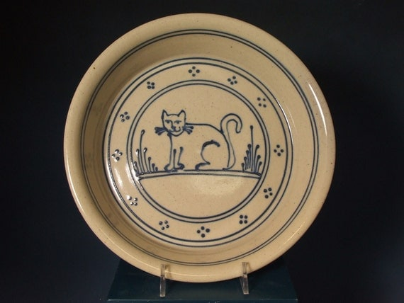 Stoneware  Pie Plate - Blue Cat