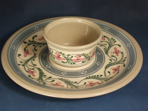 SALE  40% OFF   Chip and Dip - Bread and Oil - Platter and Bowl - Stoneware Pottery  Red and Pink Flowers Green accents