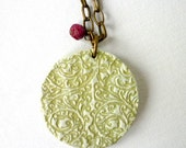 Ophelia in Venice - Medallion Necklace in Moss Green