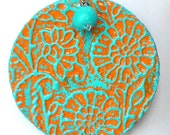 Turquoise and Orange Big Round Medallion Necklace- Floral Pattern - Deep Texture- Jasmine in Haifa