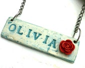 Custom Name Necklace - Turquoise with Red Rose - Name tag - Rustic