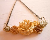 Shabby Chic  Flower Cluster - Creamy Gold