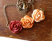 Jane Austen -  Romantic Rose Triptych - Shabby Chic Rose Necklace