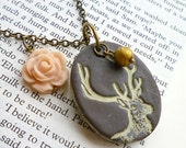 Deer Necklace - Woodlands - Forest - Shabby Chic Deer