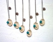 Peacock Bridesmaids Necklaces - Silver, Ivory, Teal and Brown