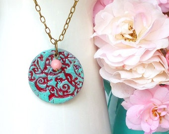 Annete in Burgundy with Green Patina and Roses-  Medallion Necklace