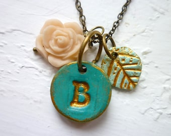 Letter necklace - Sea Green and Gold