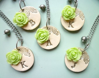 Bridesmaids Necklaces- Silver and Ivory - Romantic Vintage Rose - Set of 5