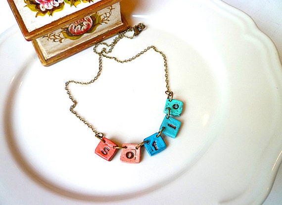 Fiesta Necklace - Name necklace on little tiles - Coral and Turquoise