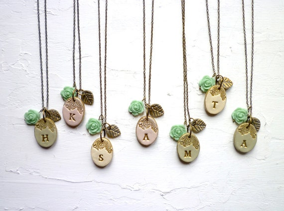 FOR MELODY - Garden Bridesmaid Necklace - Rustic Chic Wedding -Set of 3