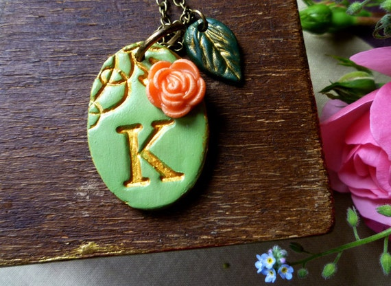 Initial Necklace - Victorian Garden - Fern green and Gold with Coral Rose Oval
