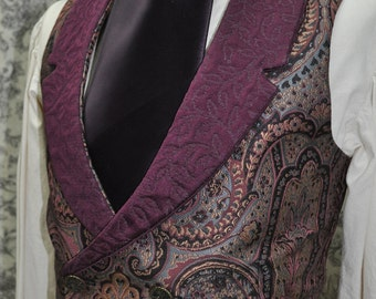 Mens Bespoke Low Cut Vest--Victorian--Steampunk---Sherlock Holmes Style---Custom Hand Tailored--Made to Order--Made to Personal Measurements