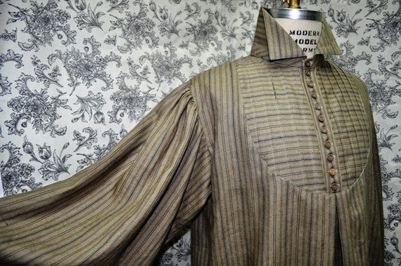 Men's and Women's Early Victorian Shirt--Dress Shirt--Sweeney Todd--High Collar--Button Up-- Pleated Shirt--Long Sleeves---Made to Order-