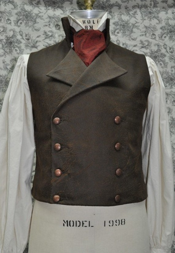 Made To Order/ Hand Made/ Custom Optional-----Men's Victorian/Steampunk Double Breasted Vest With an Air of Sweeney Todd-----Men's Chest size 30-46 inches