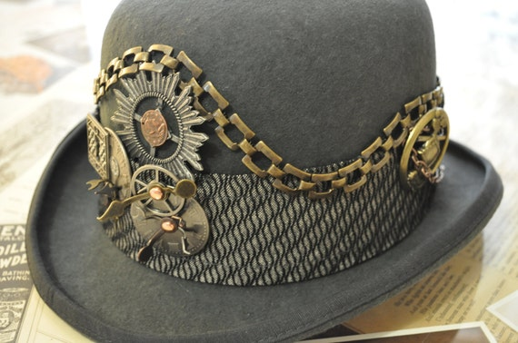 Men's Steampunk Hat-----One Of A Kind---READY TO SHIP--Upcycled--Gray Derby (Bowler) Style--Clockworks---Brass--Medium size 22""
