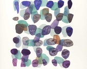 Art original Abstract painting watercolor Autumn Path V blue purple pebbles sea glass oht vacation beach finds