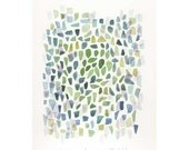 Green Sea Glass Painting, watercolor on paper Spring impression dreamt summer oht ooak