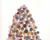 Mountain Art Watercolor painting brown earth pebbles natural history Original Watercolor painting